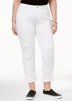 Lucky Brand Trendy Plus Size White Wash Ripped Boyfriend Jeans