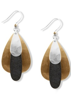 Lucky Brand Tri-Tone Hammered Paddle Drop Earrings