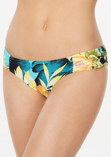 Lucky Brand Tropical Paradise Printed Shirred Hipster Bikini Bottoms Women's Swimsuit