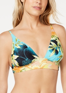 Lucky Brand Tropical Paradise Printed Triangle Bra Bikini Top, Available in D-Cup Women's Swimsuit