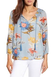 Lucky Brand Tucked Floral Print Peasant Blouse
