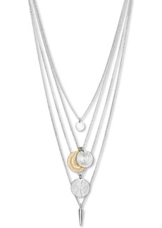 "Lucky Brand Two-Tone Hammered Coin & Arrow Convertible Layered Pendant Necklace, 17"" + 3"" extender"