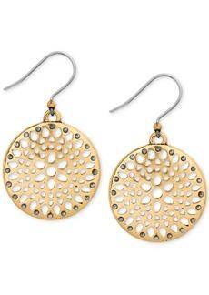 Lucky Brand Two-Tone Openwork Disc Drop Earrings