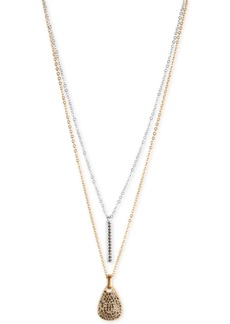 """Lucky Brand Two-Tone Pave Bar & Paddle Layered Pendant Necklace, 18-1/2"""" + 2"""" extender"""