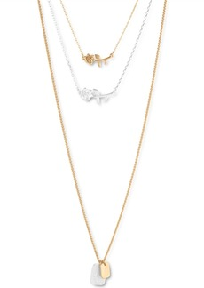 """Lucky Brand Two-Tone Rose Pendant Three-Row 30"""" Long Necklace"""