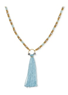"Lucky Brand Two-Tone Tassel Stone Beaded Pendant Necklace, 32"" + 2"" extender"
