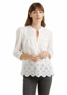 Lucky Brand Women's 3/4 Sleeve Button Neck Rebecca Eyelet Popover Top