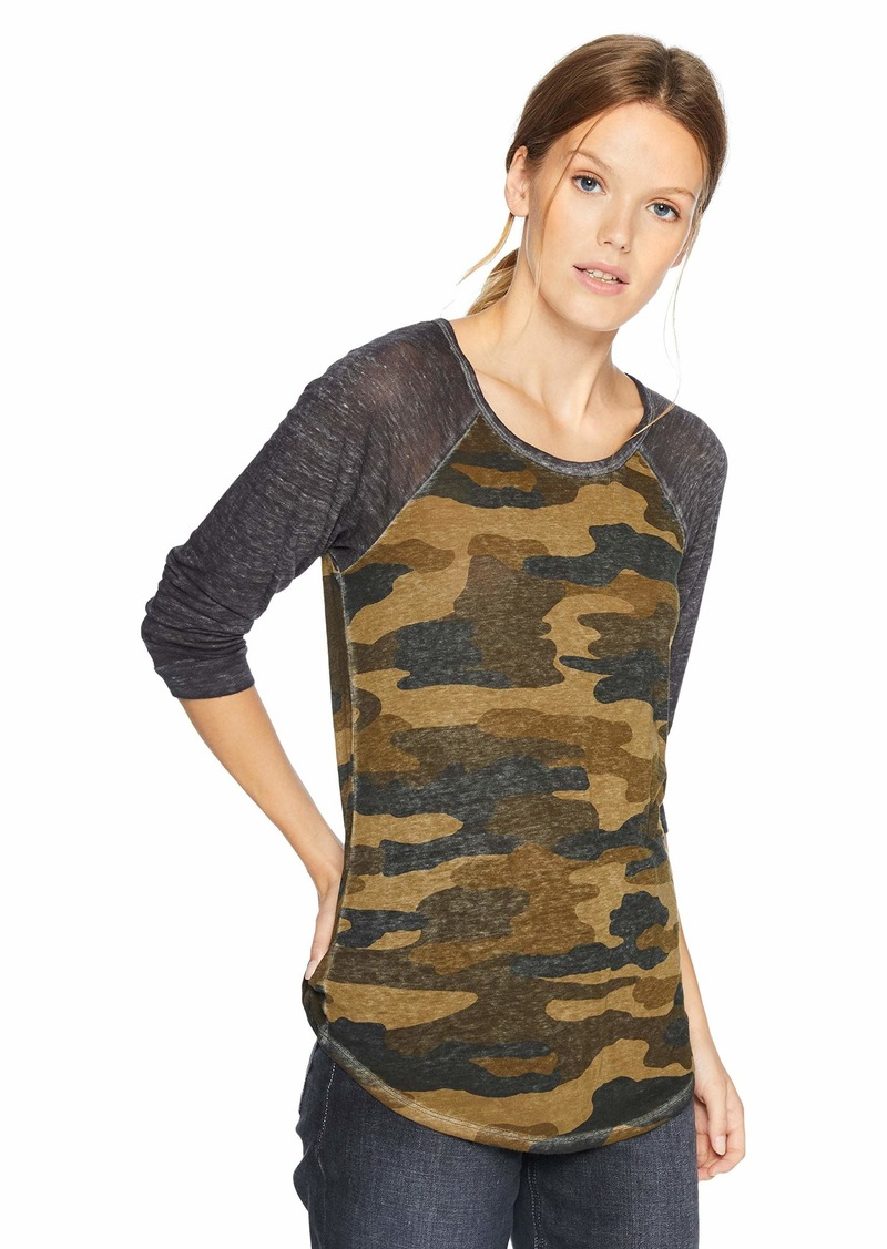 Lucky Brand Women's 3/4 Sleeve CAMO TEE  S