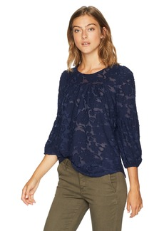 Lucky Brand Women's 3/4 Sleeve Peasant TOP  S