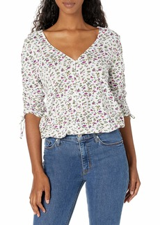 Lucky Brand Women's 3/4 V-Neck Printed Ruched Sleeve Top  L