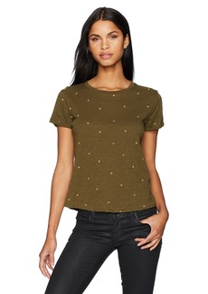 Lucky Brand Women's All Over Embroidered Tee  M