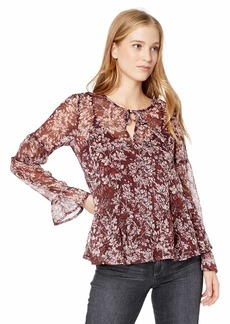 Lucky Brand Women's All Over Print Peasant Ruffle TOP  S