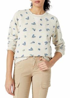 Lucky Brand Women's Allover Embroidered Crew Neck Sweatshirt