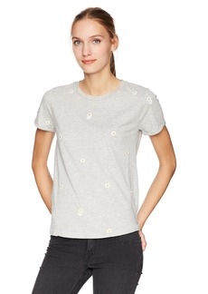 Lucky Brand Women's Allover Embroidered Daisies TEE  S