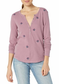 Lucky Brand Women's Allover Embroidered Thermal Top  XS