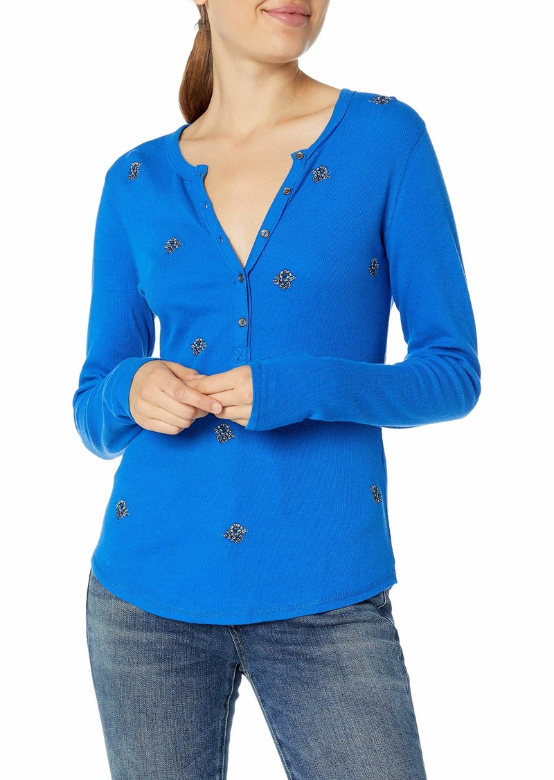 Lucky Brand Women's Allover Embroidered Thermal Top  L