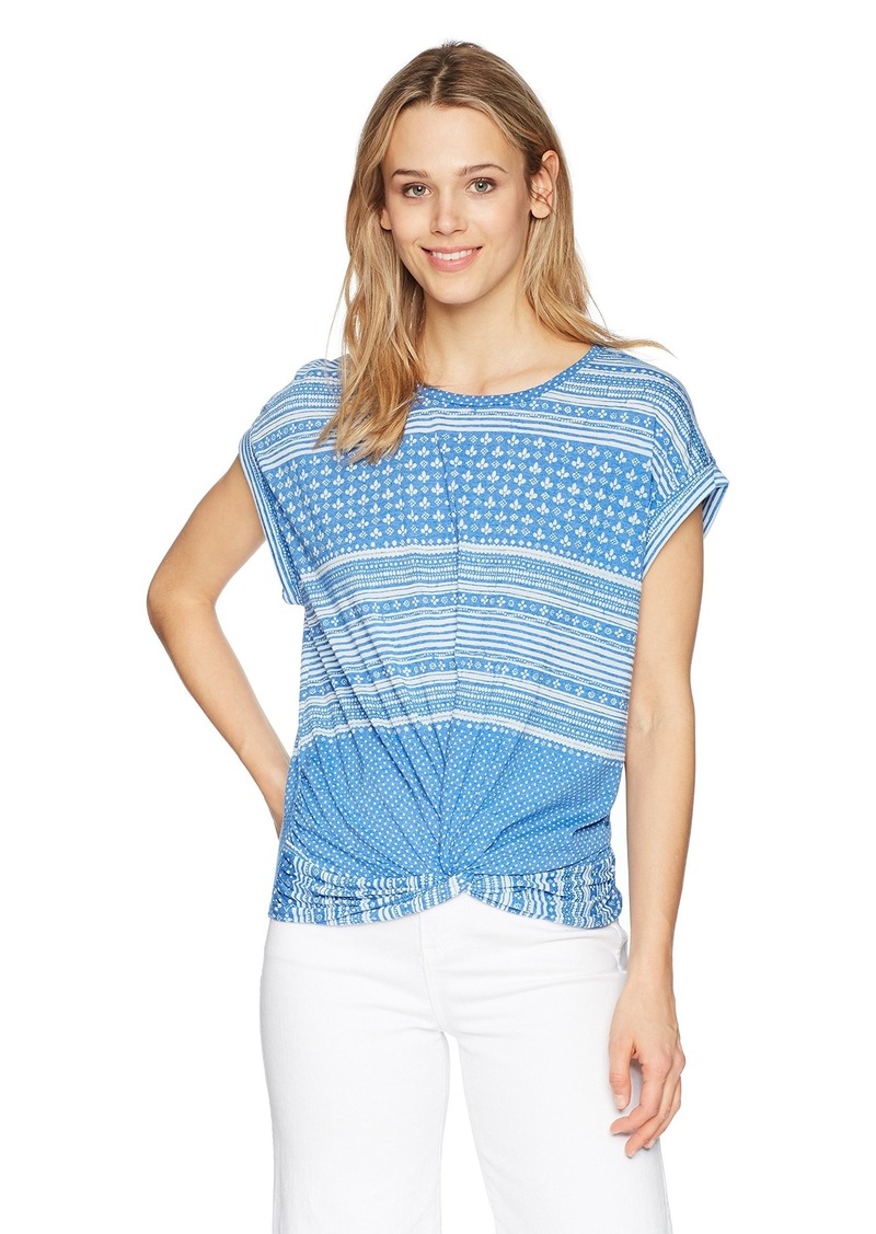 Lucky Brand Women's Allover Print TEE BALEINE Blue XL