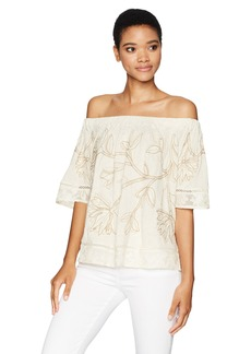 Lucky Brand Women's Applique Off The Shoulder Top