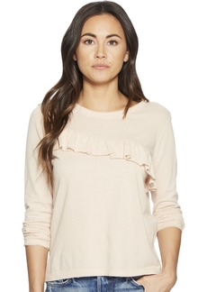 Lucky Brand Women's Asymetrical Ruffle TOP Rose dust L