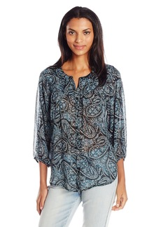 Lucky Brand Women's Black Paisley Peasant Top Multi