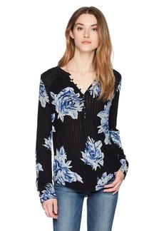 Lucky Brand Women's Blossom Print Henley Top  S