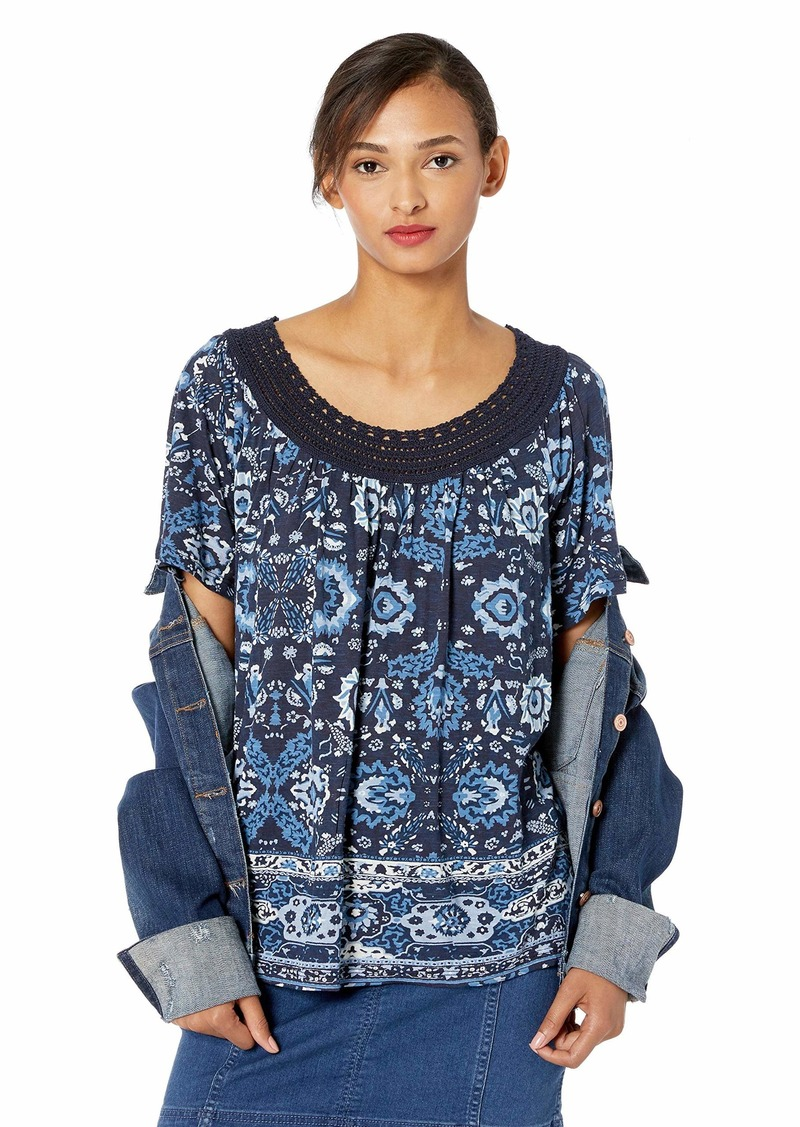 Lucky Brand Women's Blue Crochet Short Sleeve TEE Multi L