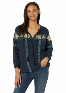 Lucky Brand Women's Blue Embroidered Peasant TOP  XL
