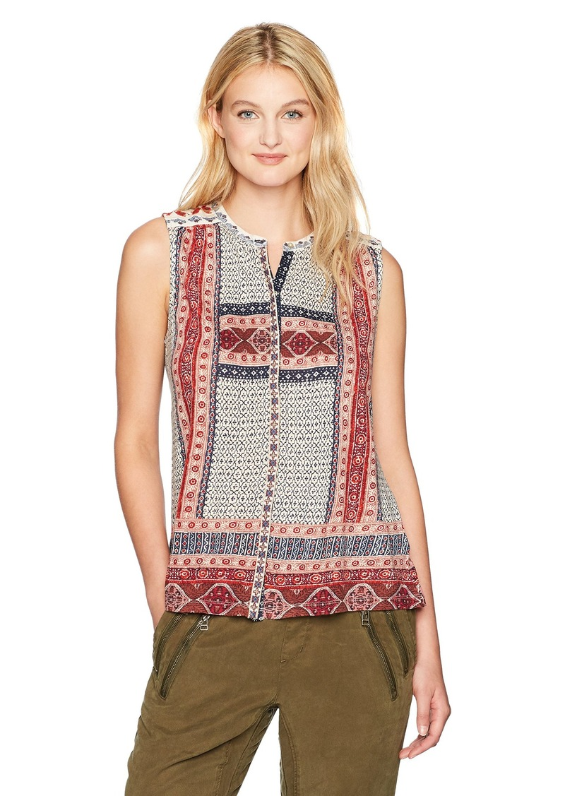 ad127febde3f Lucky Brand Lucky Brand Women's Border Print Button up Tank Top ...