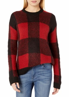 Lucky Brand Women's Brushed Buffalo Check Pullover Sweater  L