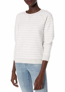 Lucky Brand Women's Brushed Sweatshirt Grey Heather w/White Stripe XL