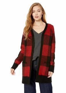 Lucky Brand Women's Buffalo Plaid Cardigan Sweater red/Multi L