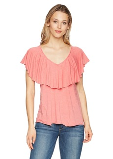 Lucky Brand Women's Burnout Ruffle TEE  S