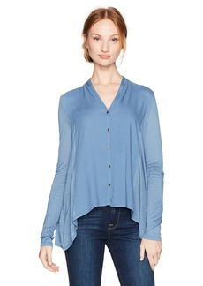 Lucky Brand Women's Button Down Woven Mix Top