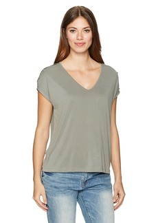 Lucky Brand Women's Button Sleeve Tee
