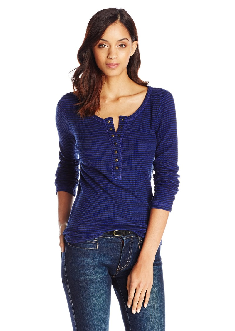 Lucky Brand Women's Carina Stripe Thermal Top Navy/Blue