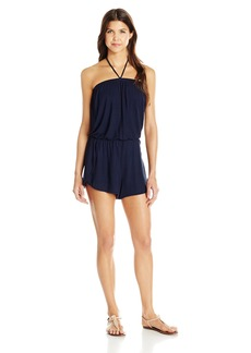 Lucky Brand Junior's Catalina Sunset Dolphin Hem Halter Romper Cover up  L