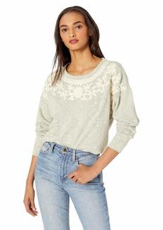 Lucky Brand Women's Chenille Tile Print Pullover Sweatshirt  L