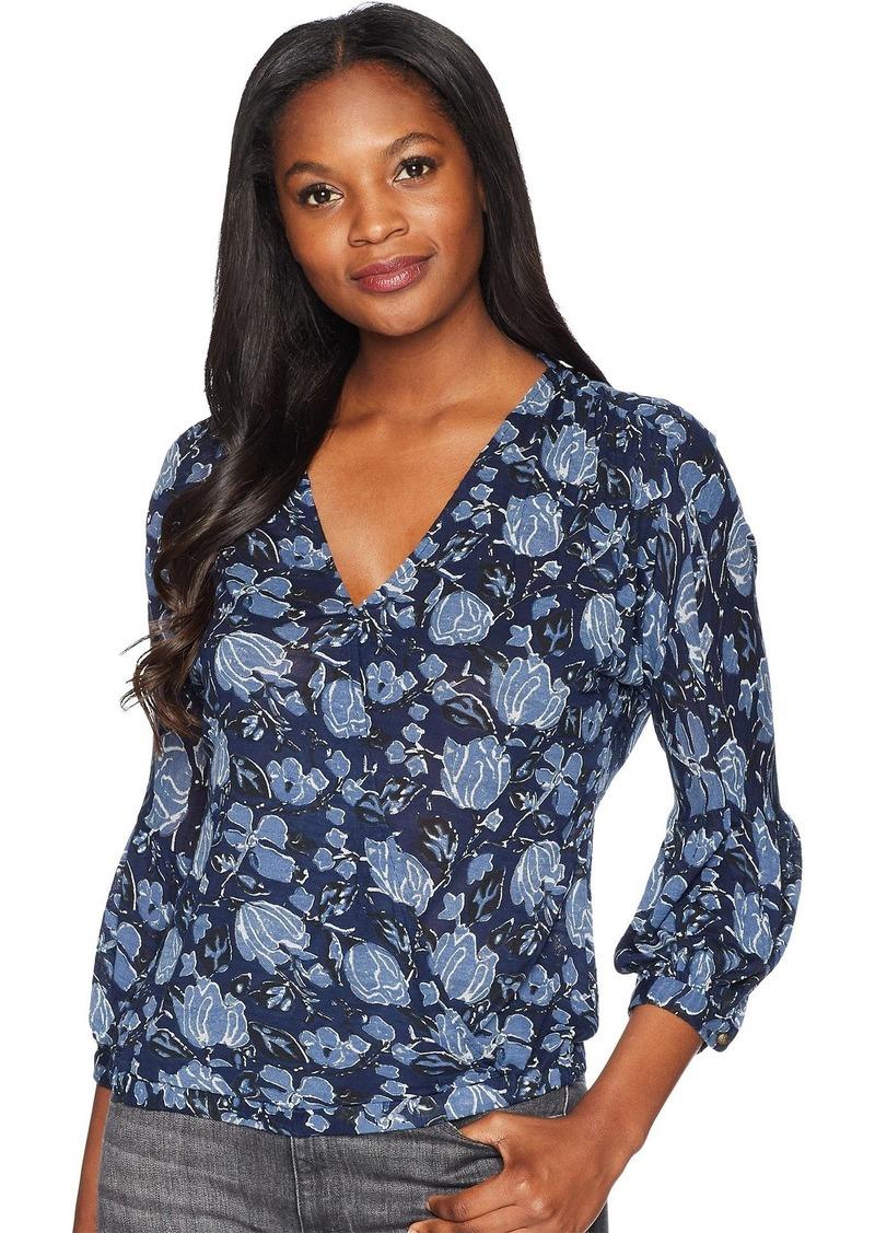 Lucky Brand Women's Choker WRAP TOP in Blue Multi L