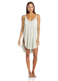 Lucky Brand Junior's Coastal Palms Knit Tulip Side Dress Cover up IVY L