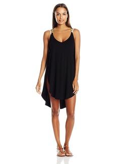 Lucky Brand Women's Coastal Palms Knit Tulip Side Dress Cover up  M