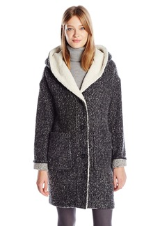 Lucky Brand Women's Cocoon Tweed Coat with Faux Shearling and Oversized Hood  L