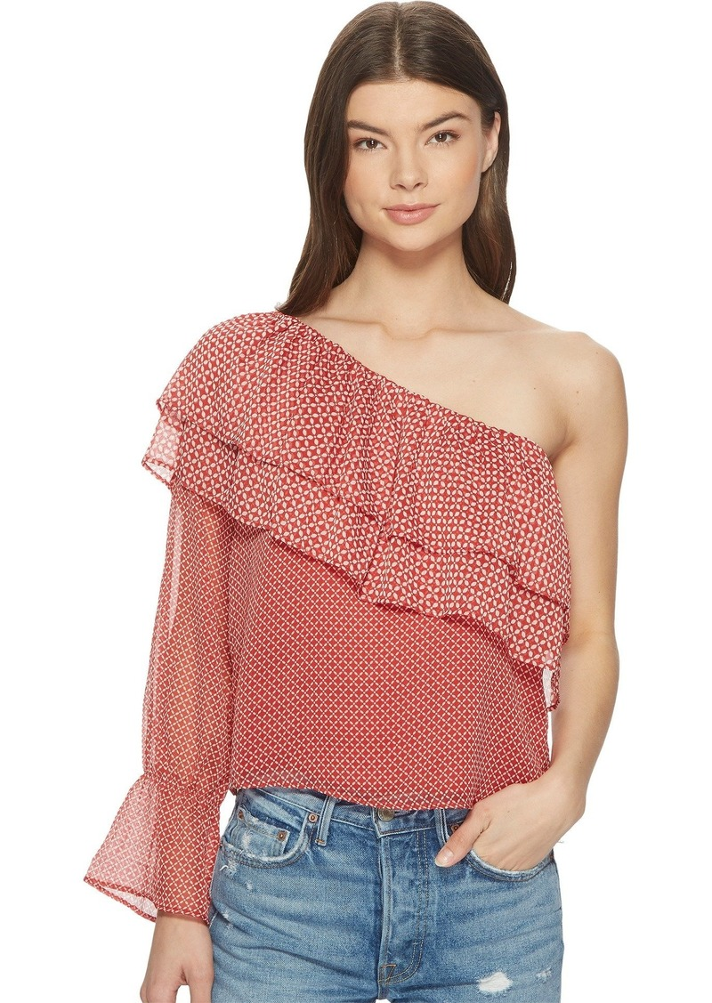 Lucky Brand Women's Cold Shoulder Printed TOP red/Multi S