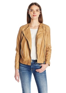 Lucky Brand Women's Collarless Leather Jacket