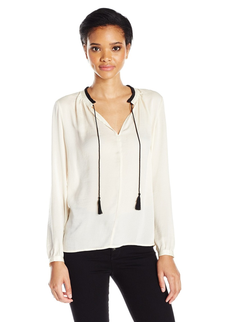 Lucky Brand Women's Contrast Peasant Top