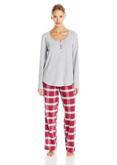 Lucky Brand Women's Contrast Placket Flannel Pajama Set Sleepwear  M