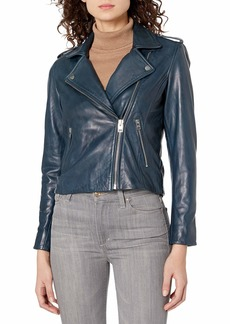 Lucky Brand Women's Core Leather Moto Jacket  X Large