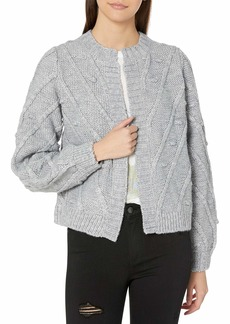 Lucky Brand Women's Crew Neck Bobble Knit Cardigan Sweater