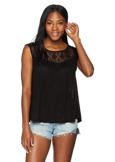 Lucky Brand Women's Crochet Tank TOP Black L