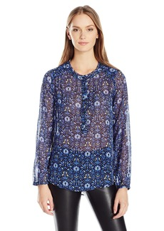 Lucky Brand Women's Damask Raw Edge Top