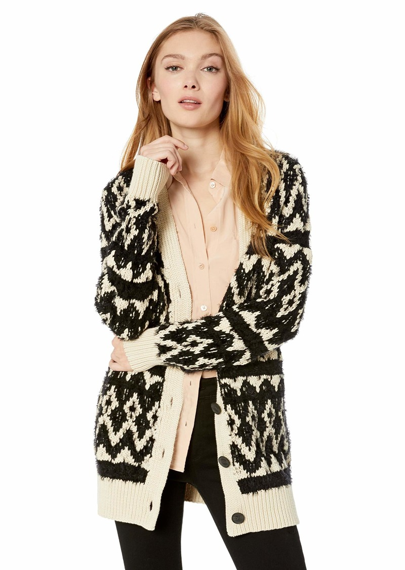 Lucky Brand Women's Diamond FAIR ISLE Cardigan Sweater  S